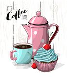 Cupcake with blue cream and cherry, cup of coffee and pink tea pot on simple white wooden texture, illustration Royalty Free Stock Image