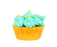 Cupcake with blue cream frosting Stock Photos