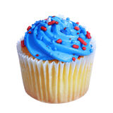 Cupcake with blue cream on the top. patriotic decorated, isolated Royalty Free Stock Image