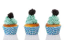 Cupcake in blue and green with fruit Stock Photography