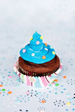 Cupcake with Blue Icing Royalty Free Stock Image