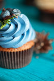 Cupcake with blueberry cream Stock Images