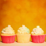 Cupcake Border. Orange Birthday Party Background Stock Photo