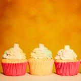 Cupcake Border. Orange Birthday Party Background Stock Photo