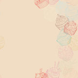 Cupcake border pattern. Seamless Sweet food texture. Use as a greeting card Royalty Free Stock Images