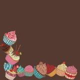 Cupcake border pattern Royalty Free Stock Photos