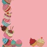 Cupcake border pattern Royalty Free Stock Images