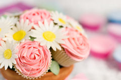 Cupcake bouquet. Picture of cupcakes made into a cupcake bouquet royalty free stock image