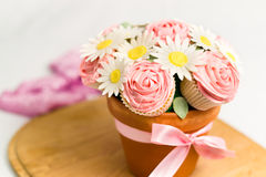 Cupcake bouquet. Picture of cupcakes made into a cupcake bouquet Stock Photography