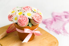 Cupcake bouquet. Picture of cupcakes made into a cupcake bouquet Royalty Free Stock Photo