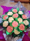 Cupcake Bouquet. Vanilla and chocolate cakes royalty free stock photography