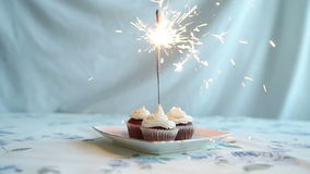 Cupcake with bow and candle. happy birthday card. Holidays greeting card. stock footage