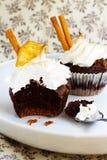 Cupcake brown. Chocolate cake on white dish Royalty Free Stock Images