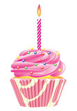 Cupcake with burning candle Royalty Free Stock Images