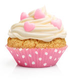 Cupcake with butter cream and raspberry Stock Images