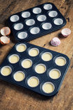 Cupcake butter in metal tray, ready to be bake Royalty Free Stock Photo