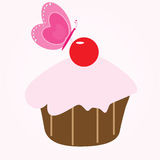 Cupcake and Butterfly Royalty Free Stock Photography