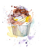 Cupcake cake with chocolate and blueberry berry. Watercolor Royalty Free Stock Image