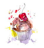 Cupcake cake with chocolate and cherry. Watercolor Stock Images