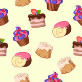Cupcake Cake Chocolate Swiss Roll Seamless Pattern Stock Photo