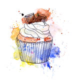 Cupcake cake with chocolate. Watercolor Stock Photo