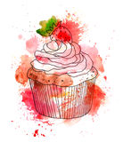 Cupcake cake with cream and strawberry berry. Watercolor Stock Image