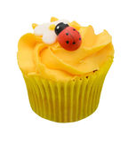 Cupcake with camomile and ladybird Royalty Free Stock Photo