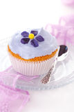 Cupcake with candied violets from flower Stock Photography