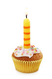 Cupcake with candle royalty free stock photography