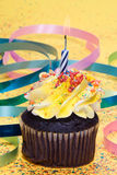 Cupcake with candle Royalty Free Stock Photos