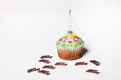 Cupcake with a candle Royalty Free Stock Images