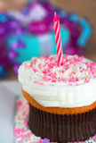 Cupcake with Candle Stock Images