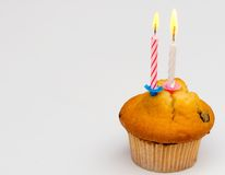 Cupcake and candle Royalty Free Stock Photos
