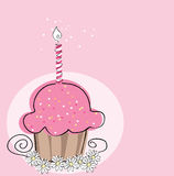 Cupcake with candle. Vector illustration of cupcake with candle on pink background Royalty Free Stock Photo