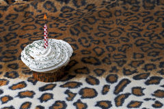 Cupcake and candle Stock Photos