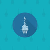 Cupcake with candle. Happy Birthday Icon. Cupcake with candle. Simple, Minimalistic and Flat Style. Monochrome color. Long Shadow. Vector Royalty Free Stock Image