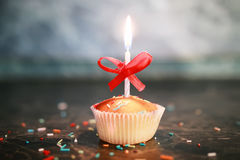 Cupcake with a candle holiday Stock Photos