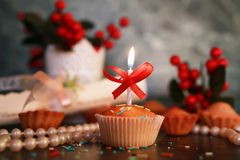 Cupcake with a candle holiday Royalty Free Stock Image