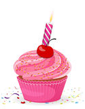 Cupcake with candle. Illustration of Birthday cupcake with candle Stock Photos