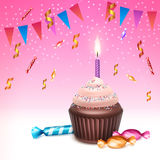 Cupcake with candle. Vector birthday cupcake with whipped cream, sprinkles, burning candle, sweets, confetti and bunting flags on pink background Stock Images