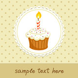 Cupcake with candle Royalty Free Stock Images