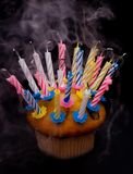 Cupcake and candles Royalty Free Stock Photography