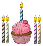 Cupcake and candles. Illustration of an isolated cupcake and candles on a white background Royalty Free Stock Image