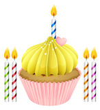 Cupcake and candles. Illustration of an isolated cupcake and candles on a white background Stock Photography