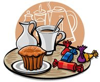 Cupcake, candy and coffee with milk Royalty Free Stock Photos