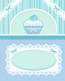 Cupcake card. Cute blue card with a cupcake and lace decorations Stock Photos