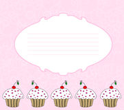 Cupcake card. Cute cupcake card in pink background vector illustration