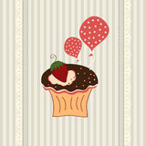 Cupcake card. Birthday card with funny cupcake and balloons vector illustration
