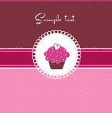 Cupcake card with heart Royalty Free Stock Photos