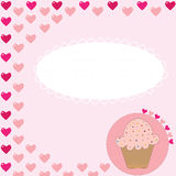 Cupcake card with hearts Stock Photo
